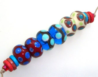 Handmade Lampwork Beads - Flagstaff! 3 pairs. Stacked dots, silvered ivory, red crimson, blue sapphire, ivory cream, teal, lime, turquoise.