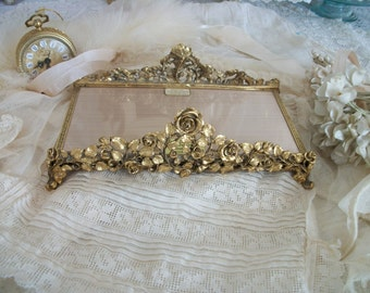 vintage signed matson gold roses footed ornate display tray, excellent, new unused condition, guest towel holder, vanity, hollywood regency