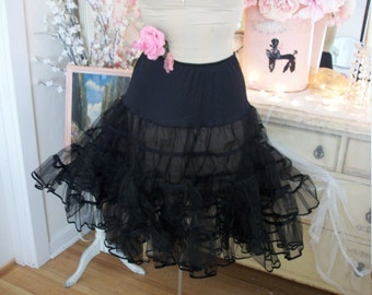 vintage jet black tulle netting crinoline, square dance tiered petticoat, malco modes size M, great condition, inky black sheer crisp net