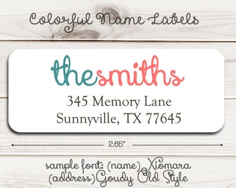 Colorful Name Return Address Labels