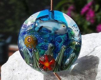 Dolphin - Aquarium Lentil - Lampwork Beads - Aquarium Bead