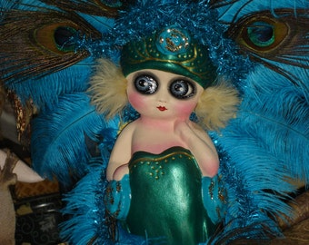 Chalkware Kewpie Doll Flapper Carnival Showgirl Lamp Peacock Feathers Restored