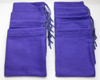 Set of 12, Purple Cotton Flannel HooDoo / Hoo Doo / Mojo Bags / Jewelry / Earring Pouches