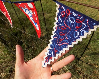 patriotic bunting 12 twelve red white blue cotton fabric flags pennants