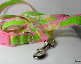 Handcrafted Lilly Pulitzer *NEW*  Croc Monsieur Gators Fabric Dog Collar & Leash Set