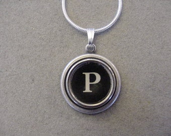 Typewriter Key Jewelry Necklace BLACK  LETTER P- Initial P serif font letter - Typewriter key Necklace Initial Necklace P