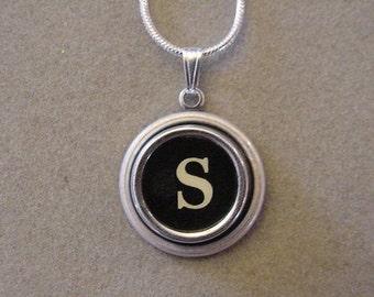 Typewriter Key Jewelery Necklace BLACK LETTER S Typewriter Key Necklace Initial Necklace Inital S