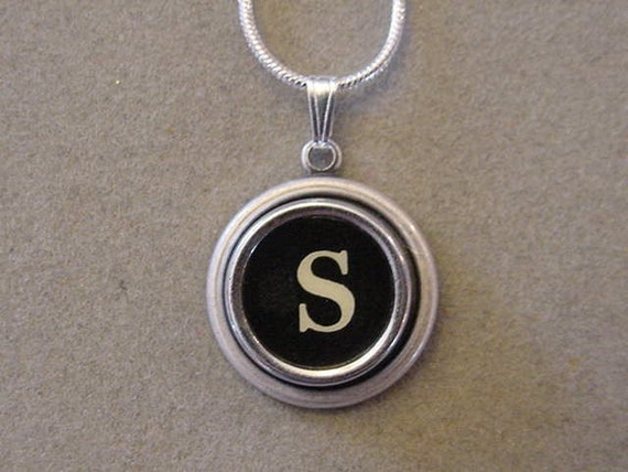 typewriter key jewelery necklace black letter s by magiccloset