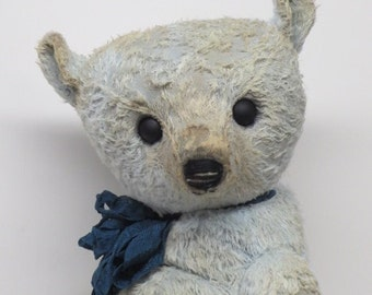 "RESERVED Artist Bear Well Loved Antique Style Teddy Bear Baby Blue 16"" OOAK By Kim Endlich"