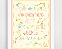 Sugar And Spice Print - Pink Baby Shower Nursery Art Sign -  Pink Girl Baby Shower Decorations Girl
