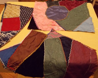 CRAZY Quilt Pieces Silk Velvet Beautiful Colors for Sew Small Projects Collage Vintage Antique