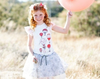 SAMPLE SALE -  Lily T-Shirt in La Vie en Rose - Size 12 months... with a charming screenprint and ruffle overlay sleeve!