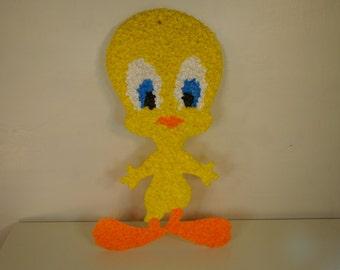 Vintage Tweety Bird Wall Hanging 1970s Melted Plastic Popcorn Tweety Bird Vintage Looney Toons Character Vintage Cartoon Character