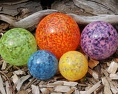 LISTING RESERVED For DEANNA 2 SetS of 6 Colorful Hand Blown Glass Floats, Garden Balls, Glass Gazing Orbs Outdoor Art Decoration