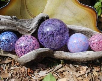 Set of 5 Colorful Hand Blown Glass Floats, Garden Balls, Glass Gazing Orbs Outdoor Art Decoration
