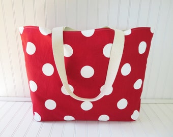 Polka Dot Red Beach Bag - Extra Large Red Beach Tote - Waterproof Beach Bag - Extra Large Tote Bag