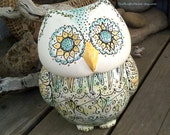 Ready to ship pottery owl cookie jar ceramic pottery kitchen decor tall owl rustic home large cookie jar floral scroll design container