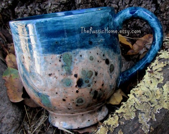 Rustic pottery mug 16oz holds 2 full cups large mug rustic home earthy browns greens blues made to order pottery mugs tea mug coffee mug