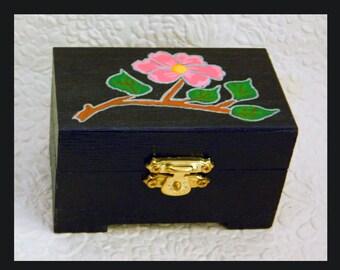 Black Flower Trinket Box, Jewelry Box, Unique Gift, Jewelry Organizer, Jewelry Holder, Wood Box Jewelry Holder, Hand Painted
