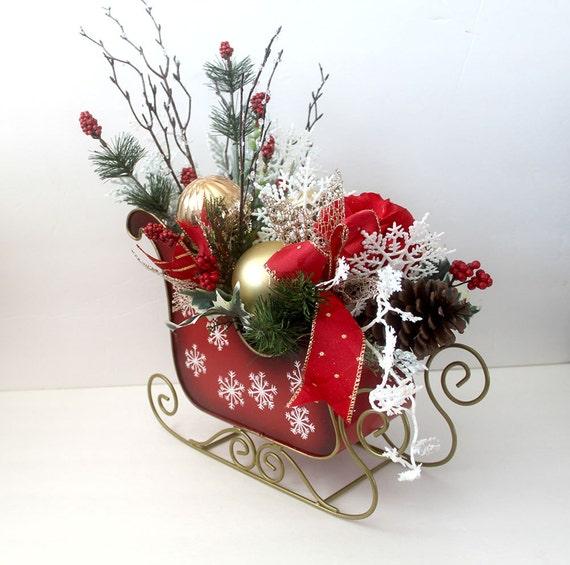 Christmas Centerpiece In Sleigh Holiday Table Décor