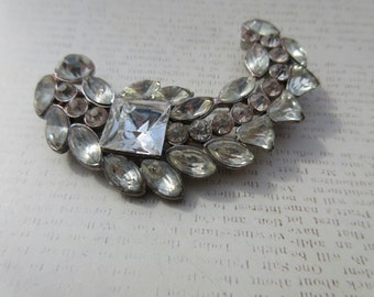 vintage brooch Old world Crescent Rhinestone Pin Wedding Bridal Bouquet Victorian Edwardian Jewelry Clear Palest Pink Crystal Jewels Gift