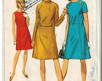 1967 Simplicity 7293 Sewing Pattern Vintage Retro Mod Dress Size 14