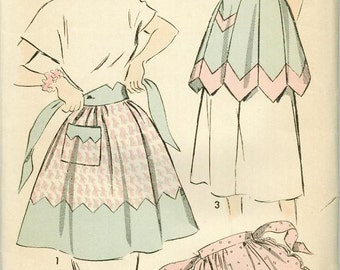 1948 Advance 4998 Adorable Apron Sewing Pattern Vintage One Size