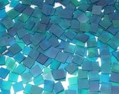 100 1/2 Inch Aquamarine Green Tumbled Stained Glass Mosaic Tiles