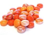 50 Rock Orange Optic Drops Mix Recycled Glass Gems Round Shaped Mosaic Tiles Floral Vase Fillers