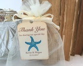 Beach Wedding Favor Bags Aqua Starfish Favor Bags Personalized Tags Set of 10
