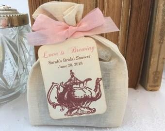 Pink Tea Party Favor Bags Muslin Bags, Teapot Tags, Ribbon Set of 10