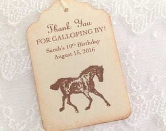 Horse Tags Horse Favor Tags Birthday Party Personalized Tags Set of 10