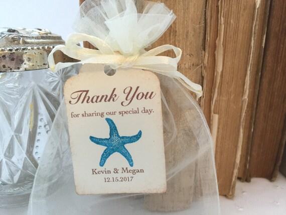 Beach Wedding Gift Bag Ideas: Beach Wedding Favor Bags Aqua Starfish Favor Bags Personalized