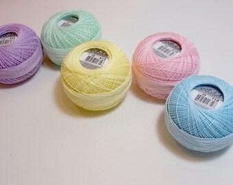 Tatting Thread, Lizbeth Size 40 Cotton Crochet Thread,  Pastels Collection, Blue, Pink, Purple, Yellow, and Green Thread