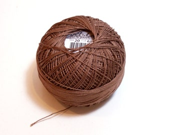 Brown Tatting Thread, Lizbeth Cotton Crochet Thread, Medium Fudge Brown, Color number 698, Choose a Size 10, 20, 40, 80