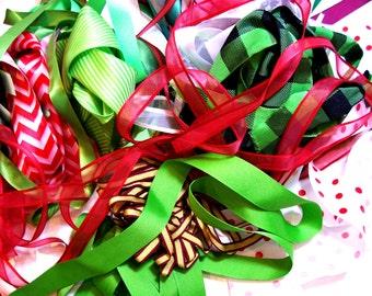 Christmas Ribbon Scraps x 1/2 Pound, Bag of Assorted Ribbon and Trim Scraps, Ribbon Grab Bag