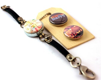 Inspiration Jewelry, Inspiration Bracelet, Inspire Happiness Gift, Gift for Her, Amusement Park Ride Photography Bracelet, Magnetic, 3 in 1