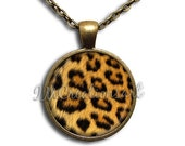 SALE - Animal Print Cheetah Pattern Glass Dome Pendant or with Chain Link Necklace PT114