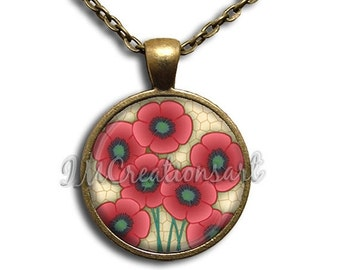 SALE - Poppy Flowers Glass Dome Pendant or with Chain Link Necklace NT124