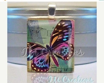 60% OFF CLEARANCE Scrabble tile pendant necklace - Butterfly Harmony (AM229)