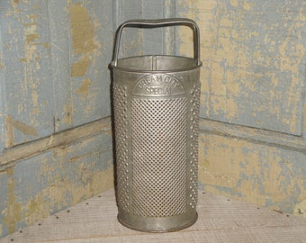 Vintage Round Tin Grater |  Old Cream City Tin Grater | Antique Round Grater