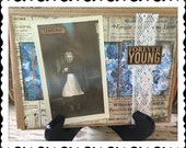 Birthday Card, Handmade Card, Greeting Card, Forever Young, Black and White, For Her, Vintage Photo, Altered Art, Collage, Vintage Style