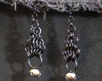 Black Chainmaille Bell Earrings