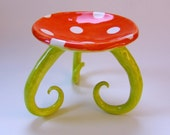 whimsical polka dot ceramic Soap Dish, candleholder with long curly legs & bright chartreuse, tangerine orange