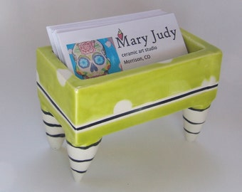 retro pottery Business Card Holder :) bright chartreuse with white polka-dots & black stripes, ceramic with legs