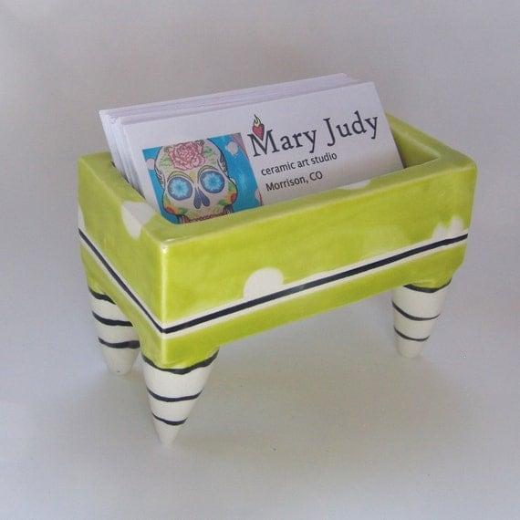 Retro pottery business card holder bright chartreuse with for Pottery business cards