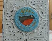 Finished Primitive Punch Needle Bird in Tin Frame