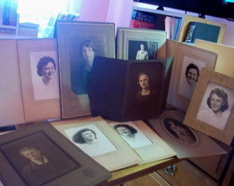 vintage photos--12 photos in  12 folders  each is 1 lady  dressed up for a portrait