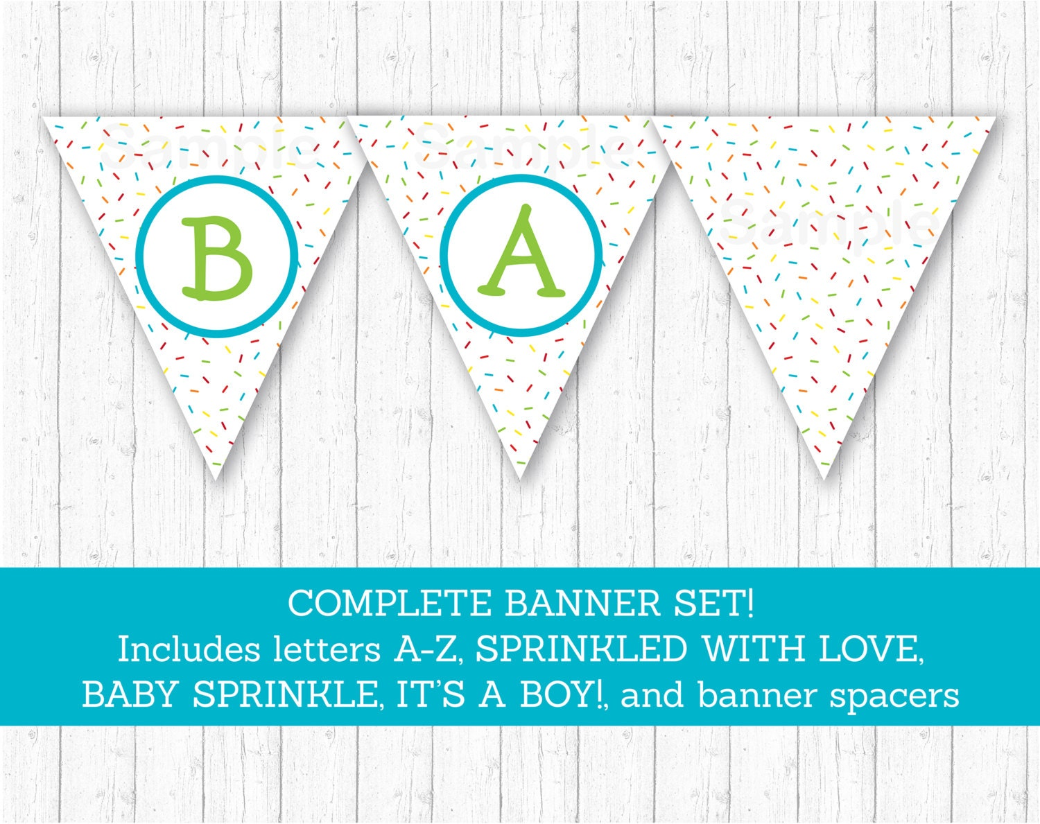 blue baby sprinkle banner  sprinkled with love banner  baby