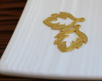 Gold Leaf Charms (2)